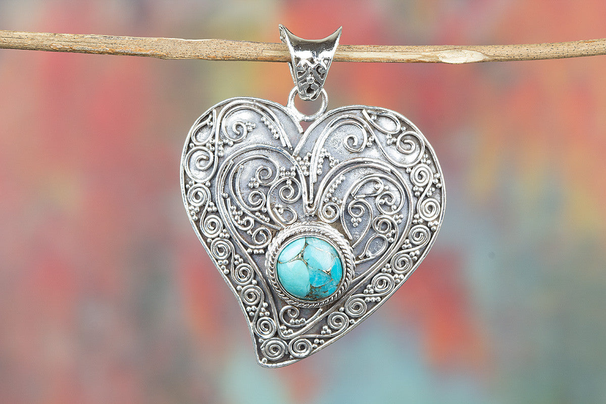 Heart Shape 925 Silver Blue Copper Turquoise Gemstone Pendant