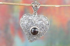 Republican Faceted Smoky Quartz Gemstone 925 Silver Pendant Handmade