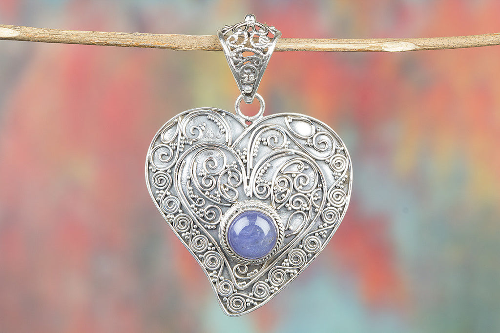 Heart Shape Tanzanite Gemstone 925 Silver Pendant