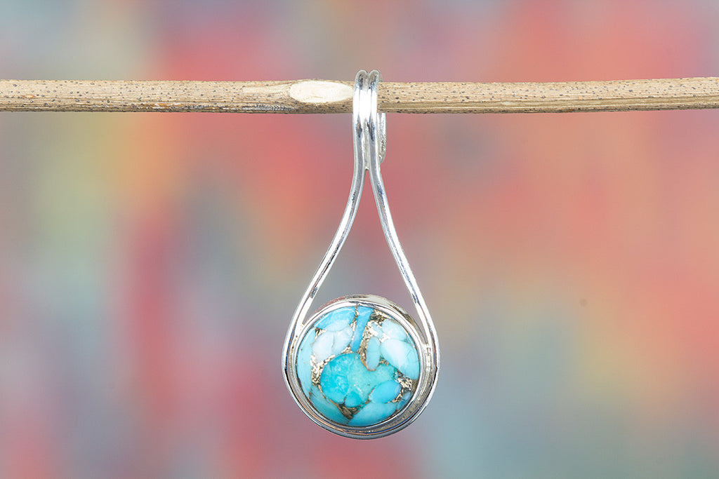 Blue Copper Turquoise Gemstone 925 Silver Tiny Pendant