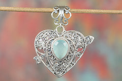 Heart Shape 925 Silver Faceted Aqua Chalcedony Gemstone Pendant
