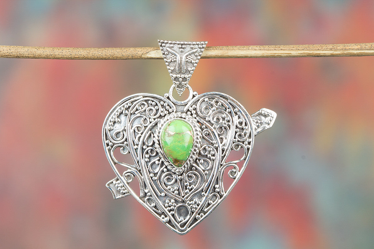 Heart Shape Green Turquoise Gemstone 925 Silver Pendant