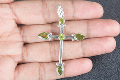 Sterling Faceted Peridot Pendant 925 Silver Handmade Jewelry
