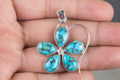 Handmade Blue Copper Turquoise Gemstone 925 Silver Pendant Healing Pendant