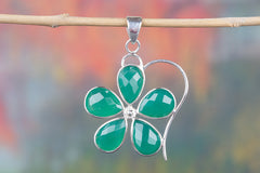 Handmade Faceted Green Onyx Gemstone 925 Silver Pendant