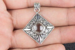 Natural Faceted Crystal Quartz Gemstone 925 Silver Pendant