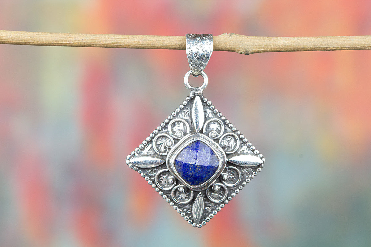 Awesome Handmade Faceted Lapis Lazuli Gemstone 925 Silver Pendant