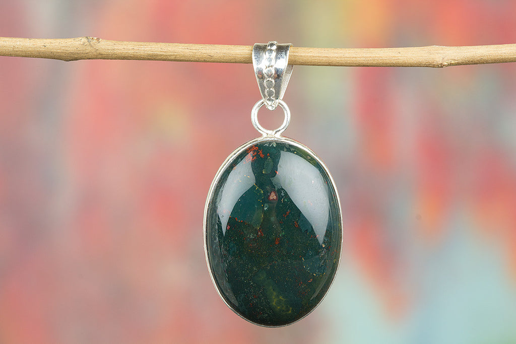 Awesome Handmade Bloodstone Gemstone 925 Silver Pendant