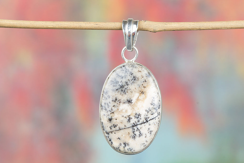 Charming Picture Jasper Gemstone & Pure 925 Sterling Silver Pendant Jewelry