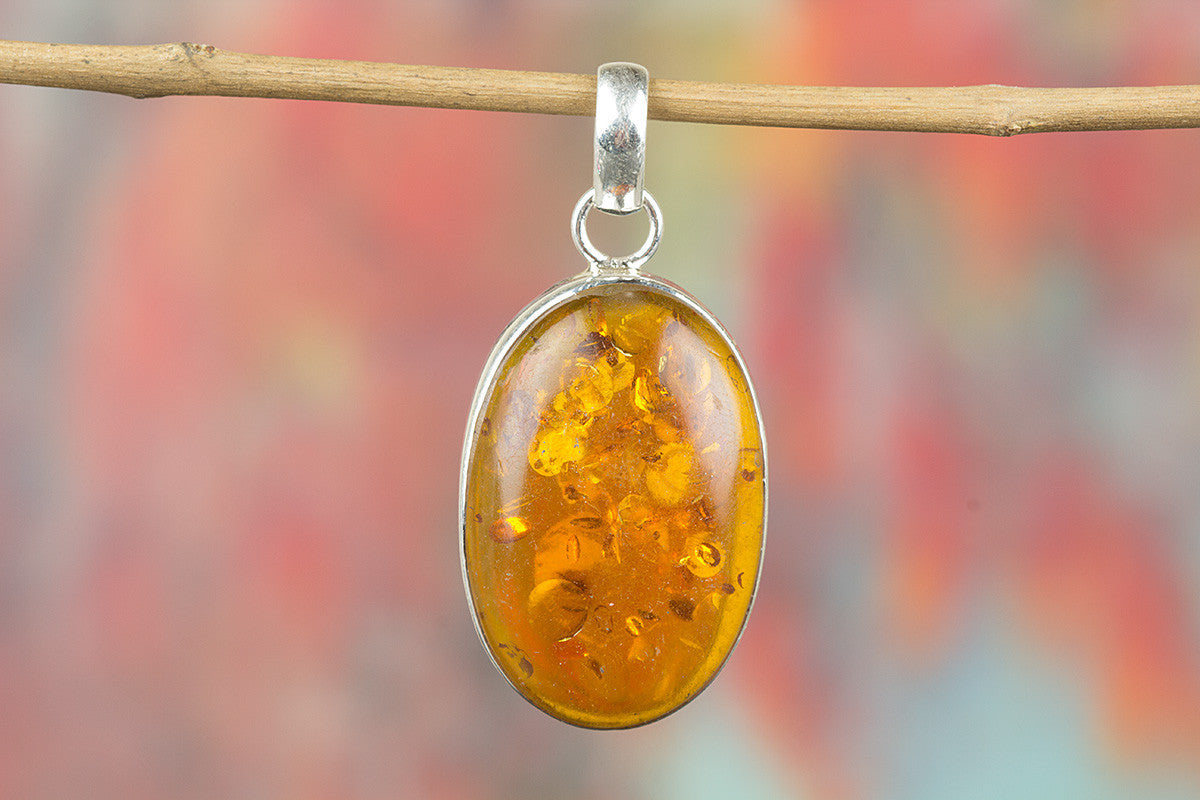 Natural Amber Gemstone 925 Silver Pendant