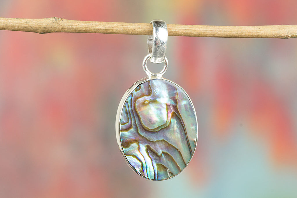Beautiful Handmade Abalone Shell Gemstone 925 Silver Pendant