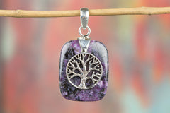 Tree Shape Charoite Gemstone 925 Silver Pendant