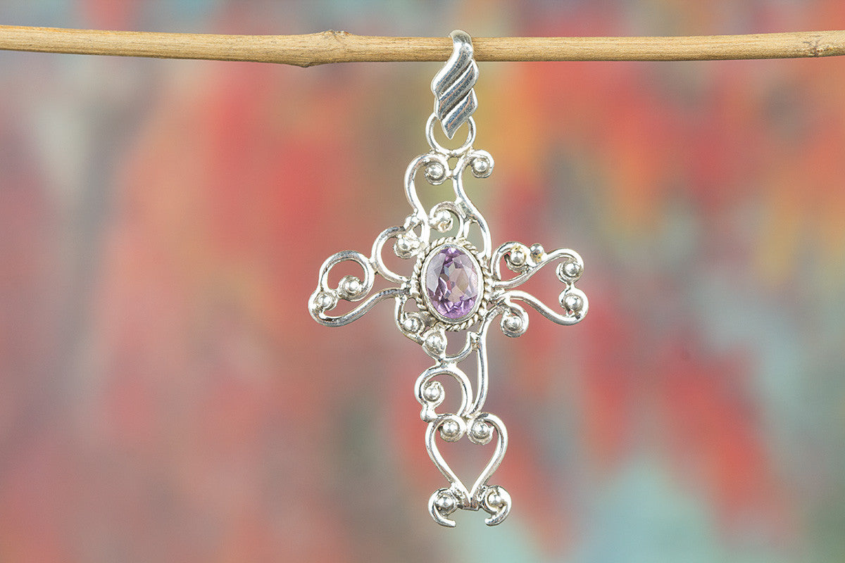 Cross Shape Faceted Amethyst Gemstone 925 Silver Pendant
