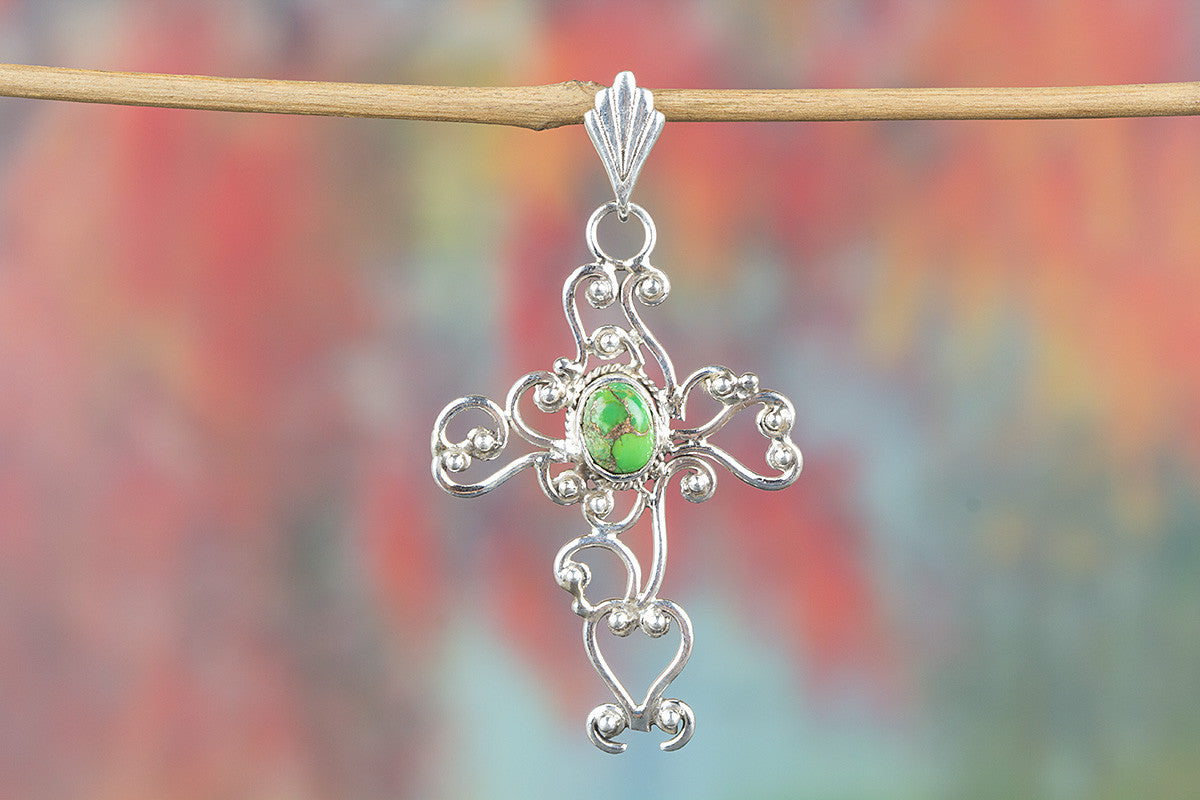 Cross Shape Green Turquoise Gemstone 925 Silver Pendant