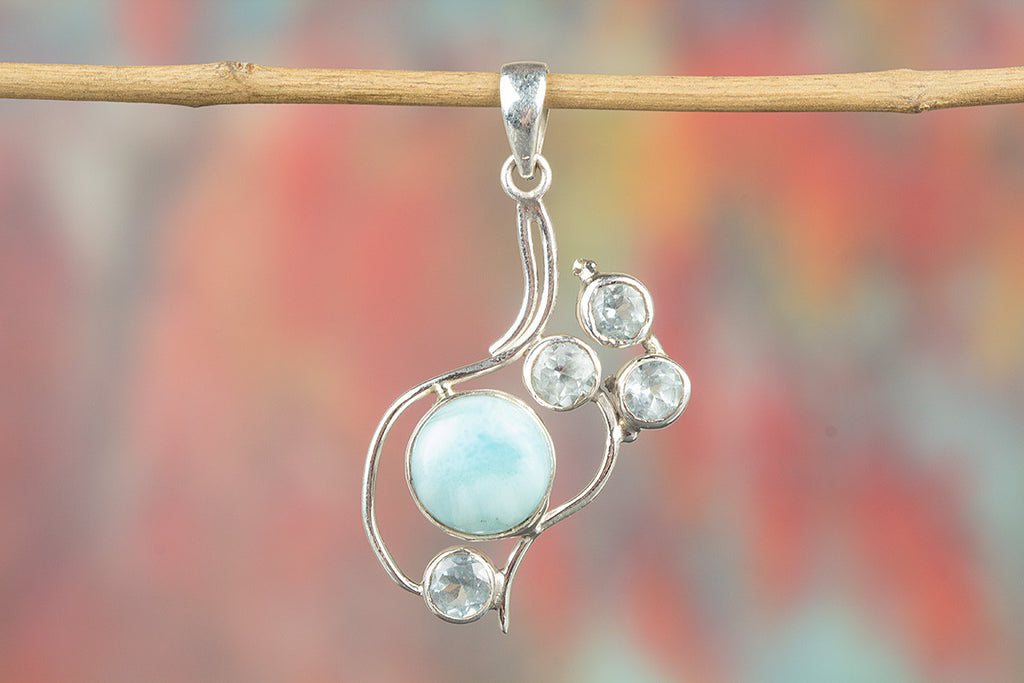 Unique Silver Larimar & Blue Topaz Pendant Gemstone Women Pendant Jewelry