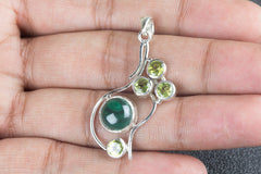 Unique Silver Malachite & Faceted Peridot Pendant Gemstone Women Pendant Jewelry