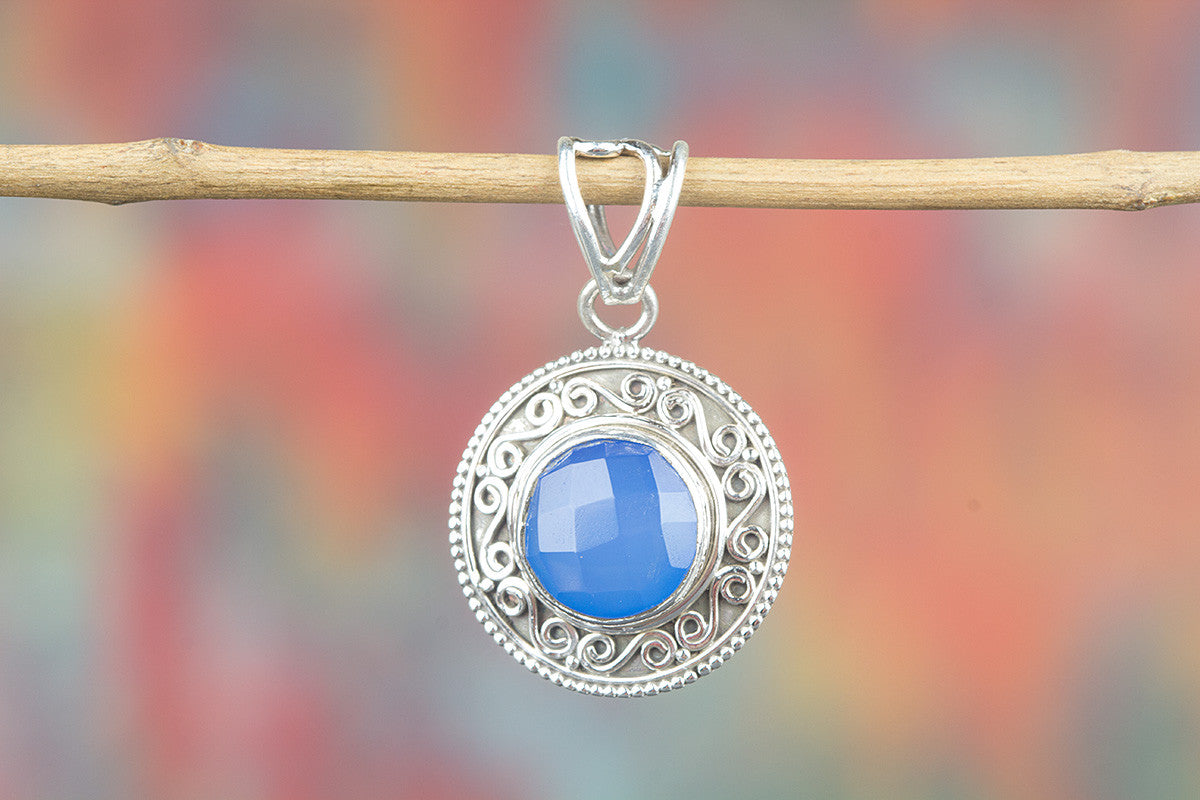 Beautiful Handmade Faceted Blue Chalcedony Sterling Silver Gemstone Pendant