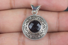 Amazing Handmade Faceted Black Onyx Silver Gemstone Pendant Woman Jewelry