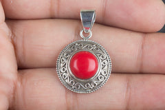 Sterling Silver Coral Pendant 925 Silver Handmade Jewelry