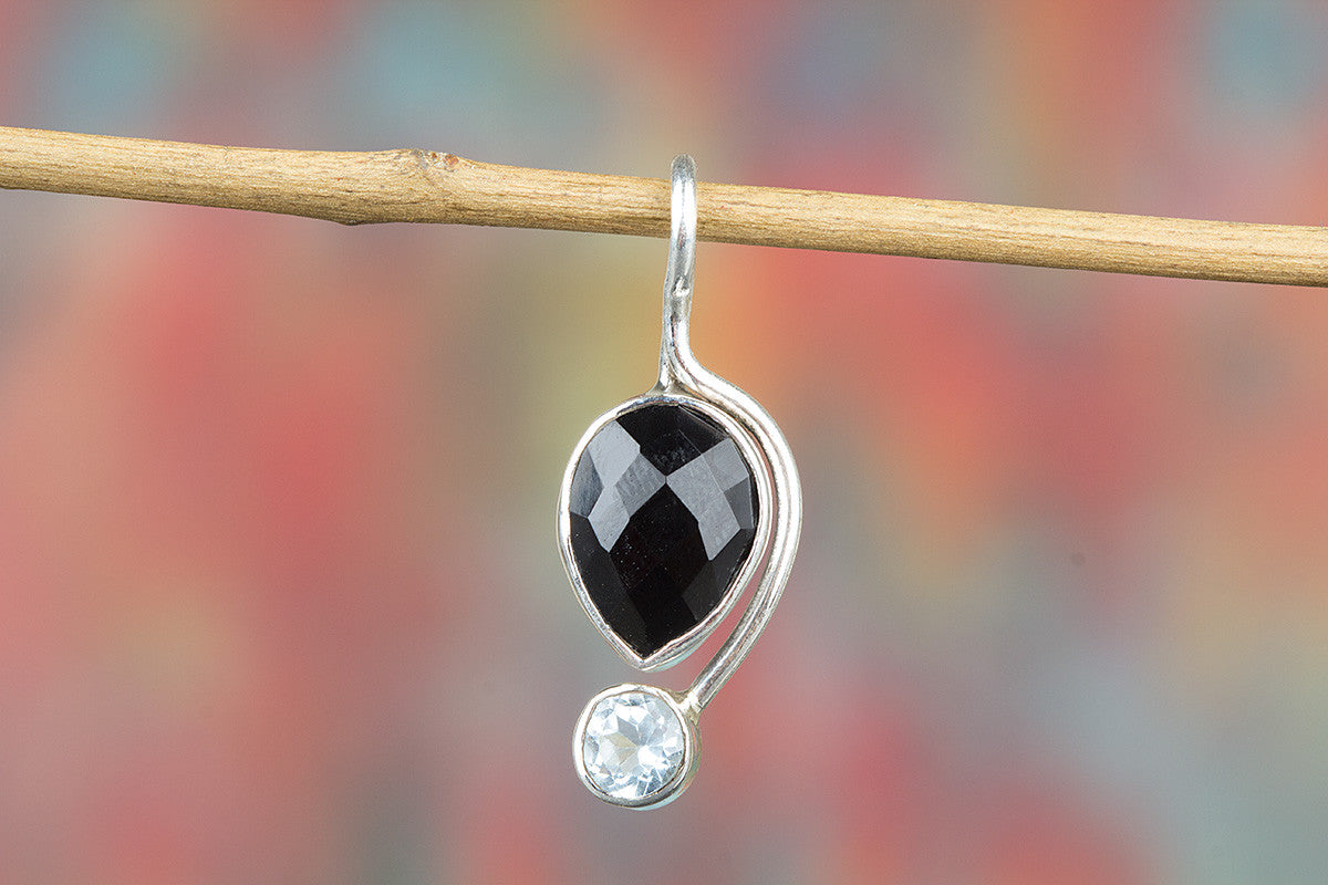 Awesome Faceted Black Onyx Gemstone Sterling Silver Pendant