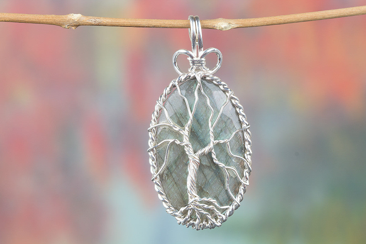 Lovely Faceted Labradorite Gemstone Sterling Silver Pendant