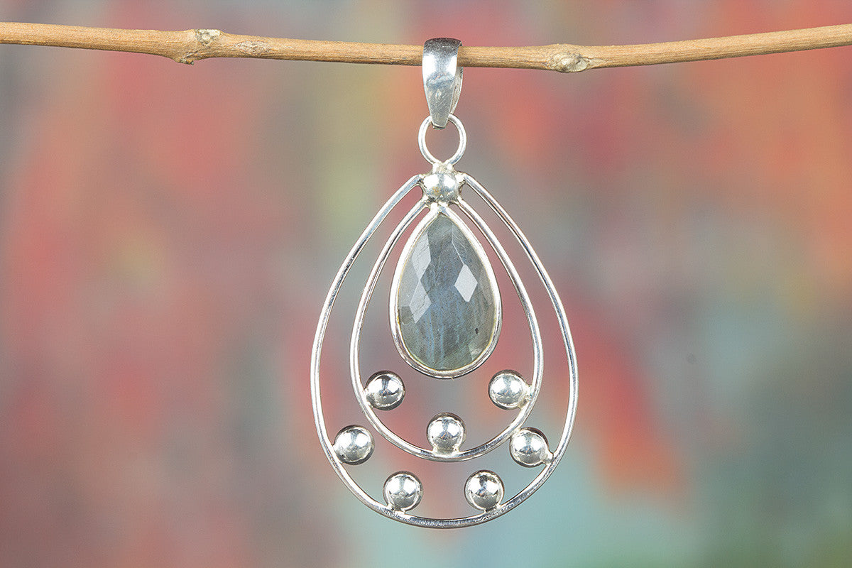 Faceted Labradorite Gemstone 925 Silver Pendant