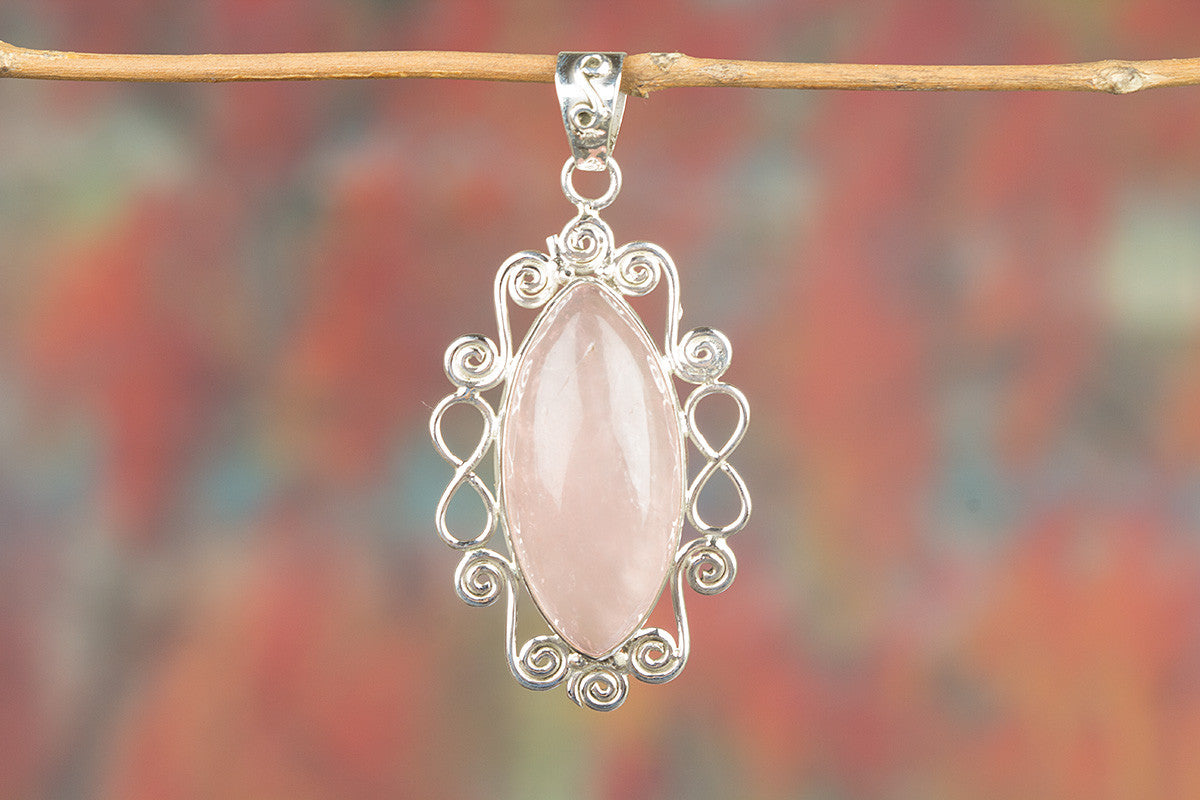 Faceted Rose Quartz Gemstone 925 Silver Pendant
