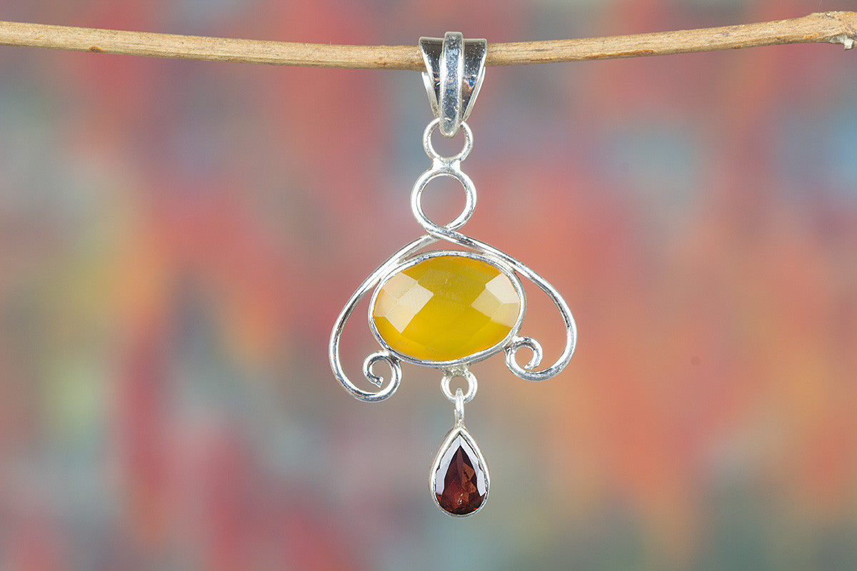 Faceted Yellow Chalcedony & Garnet Gemstone Pendant
