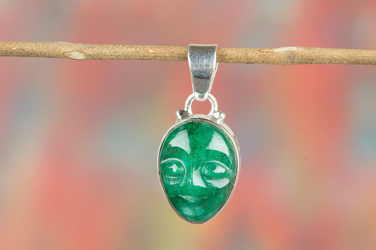 Face Shape Emerald Gemstone 925 Silver Pendant