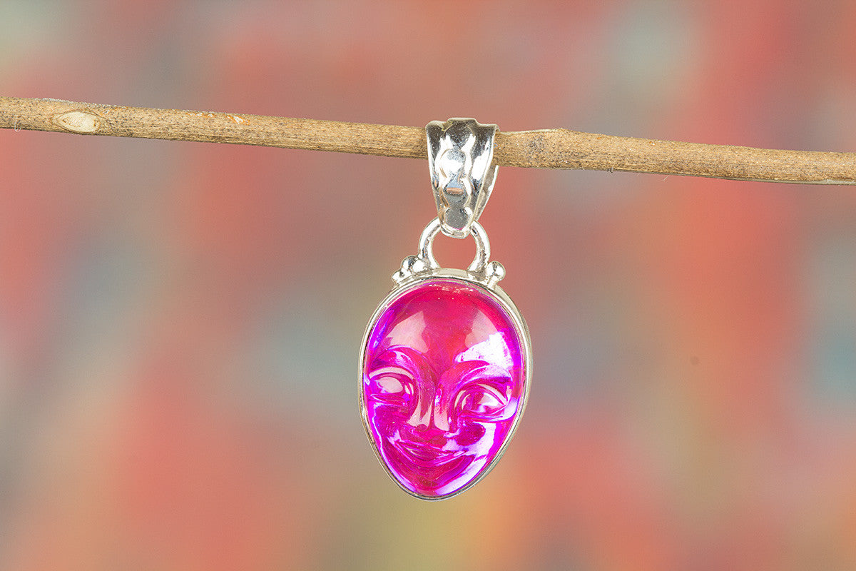Face Shape Pink Chalcedony Lab Gemstone 925 Sterling Silver Pendant