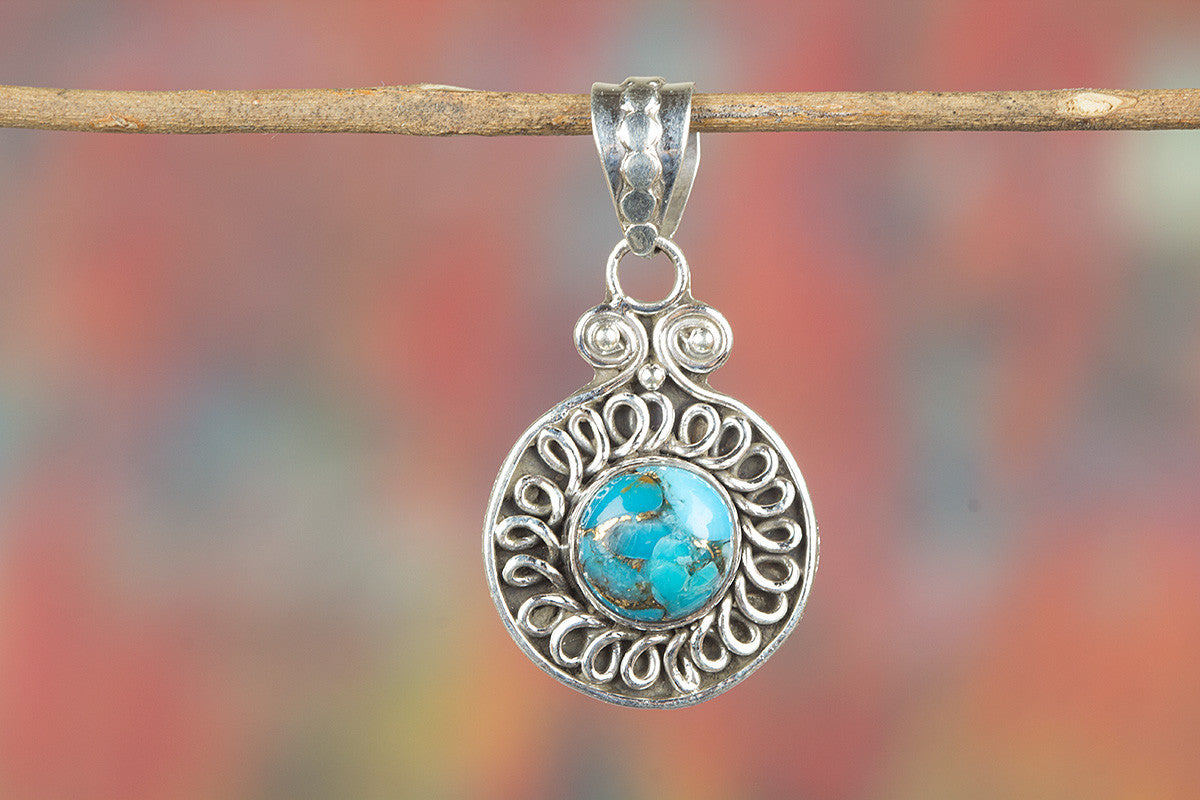 Blue Copper Turquoise Gemeston 925 Silver Pendant