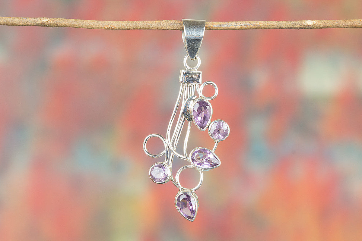Faceted Amethyst Gemeston 925 Silver Pendant