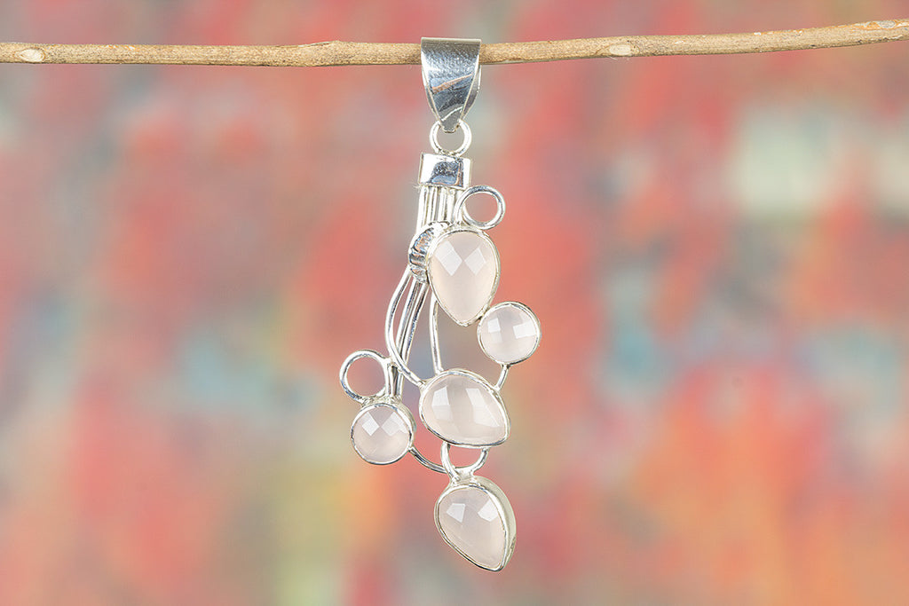 Faceted Rose Quartz Gemeston 925 Silver Pendant