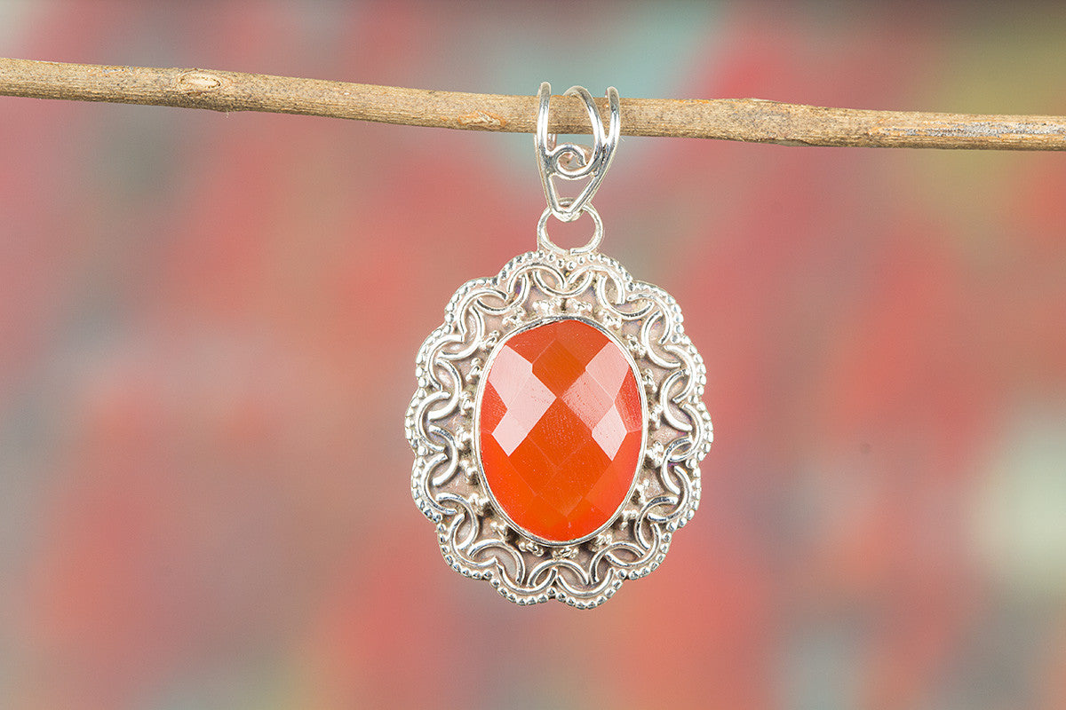 Faceted Carnelian Gemeston 925 Silver Pendant