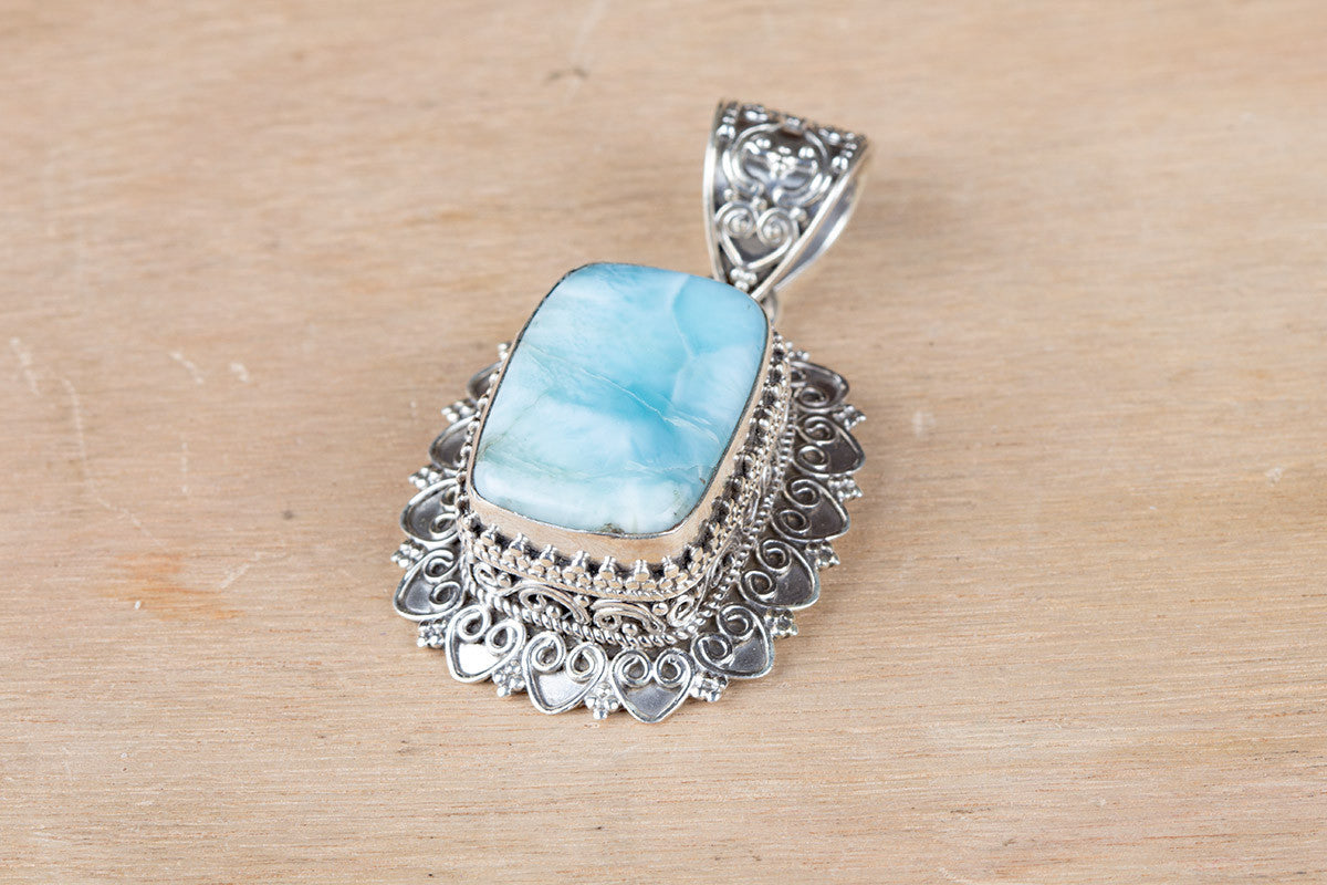 Real natural larimar sterling silver gemstone pendant brillante real natural larimar sterling silver gemstone pendant mozeypictures Gallery