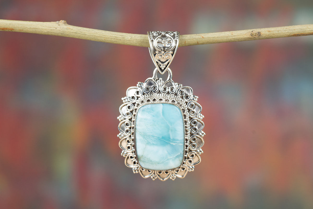 Real Natural Larimar Sterling Silver Gemstone Pendant,