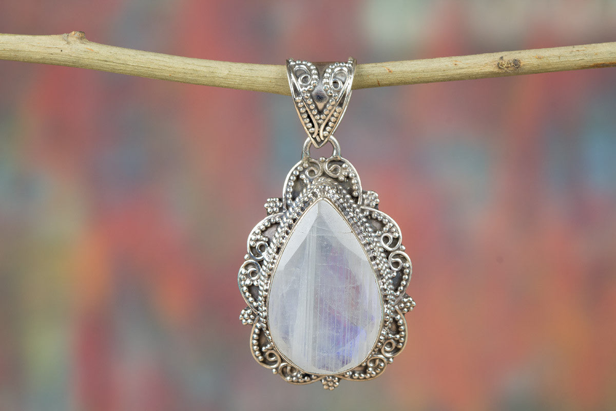 Beautiful Faceted Rainbow Moonstone Sterling Silver Handmade Pendant