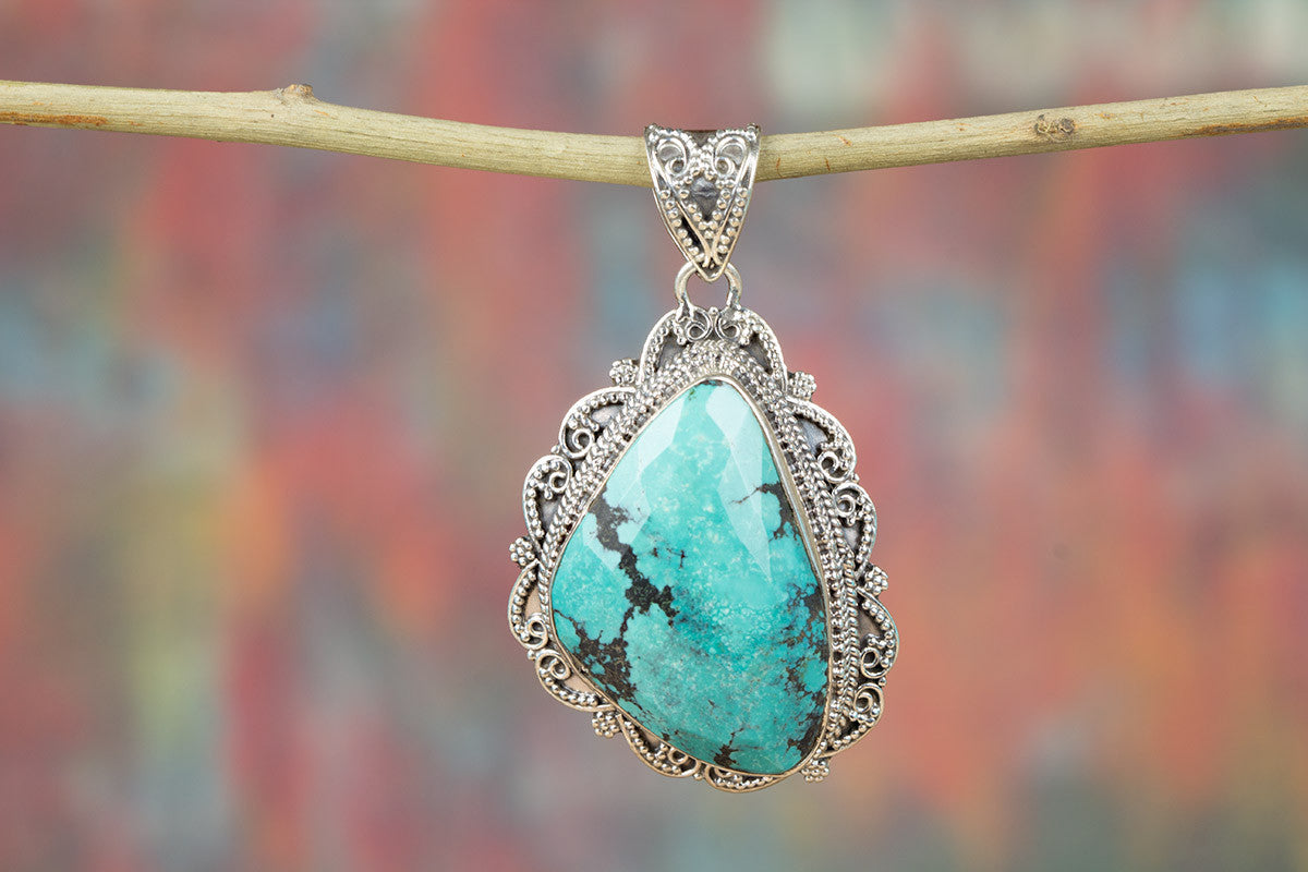 Beautiful Handmade Faceted Turquoise Sterling Silver Gemstone Pendant
