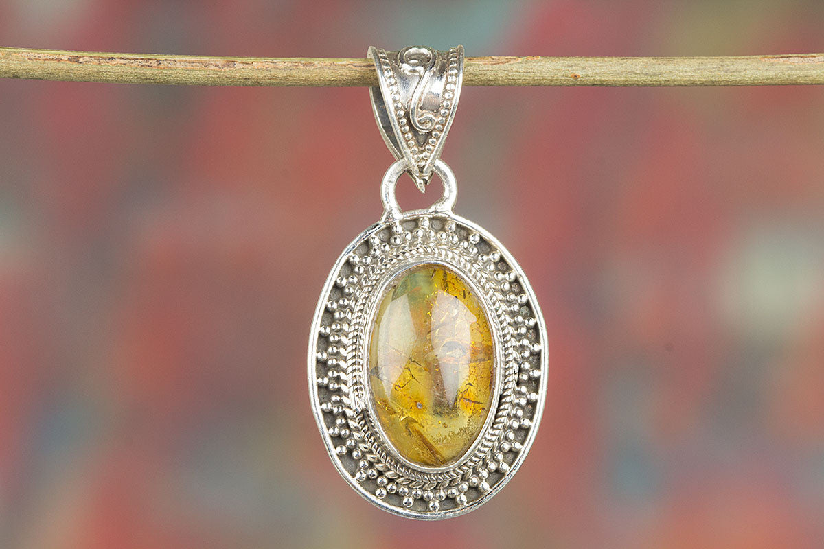 925 Sterling Silver Natural Amber Gemstone Pendant,