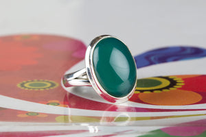 Green Onyx Ring, Onyx Jewelry, Boho Ring , Green Stone Ring , Sterling Silver Ring, Hippie Ring, Statement Ring