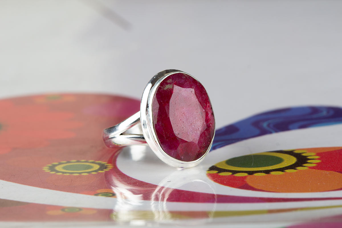Beautiful 925 Sterling Silver Ruby Gemstone Ring