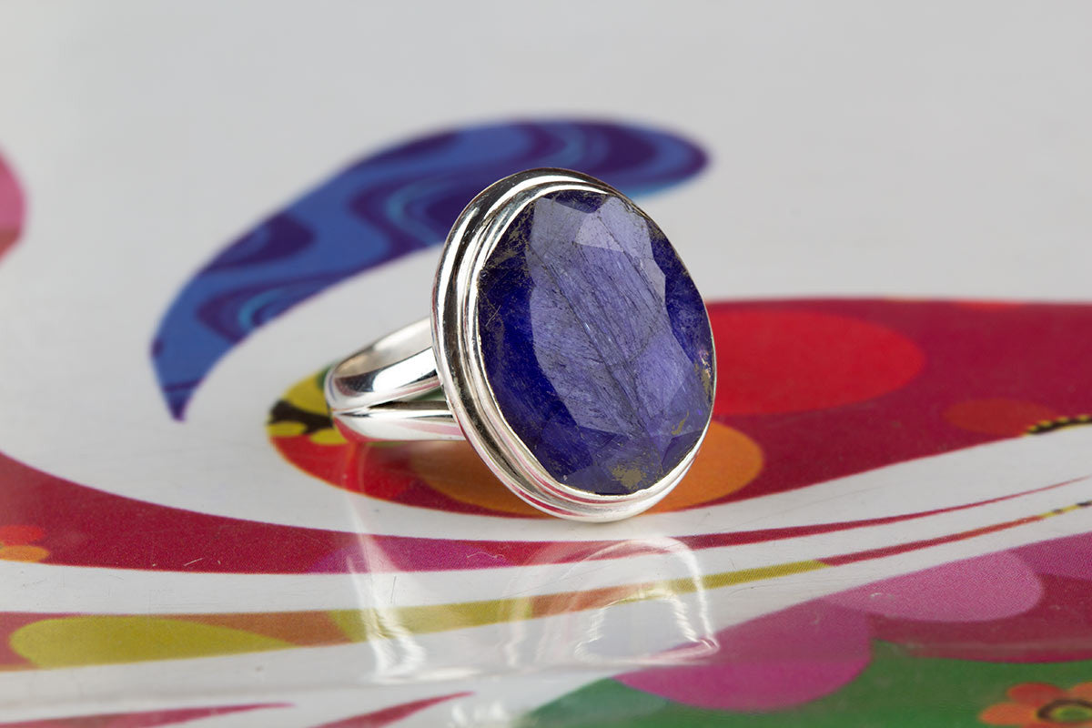 Amazing 925 Sterling Silver Sapphire Gemstone Ring