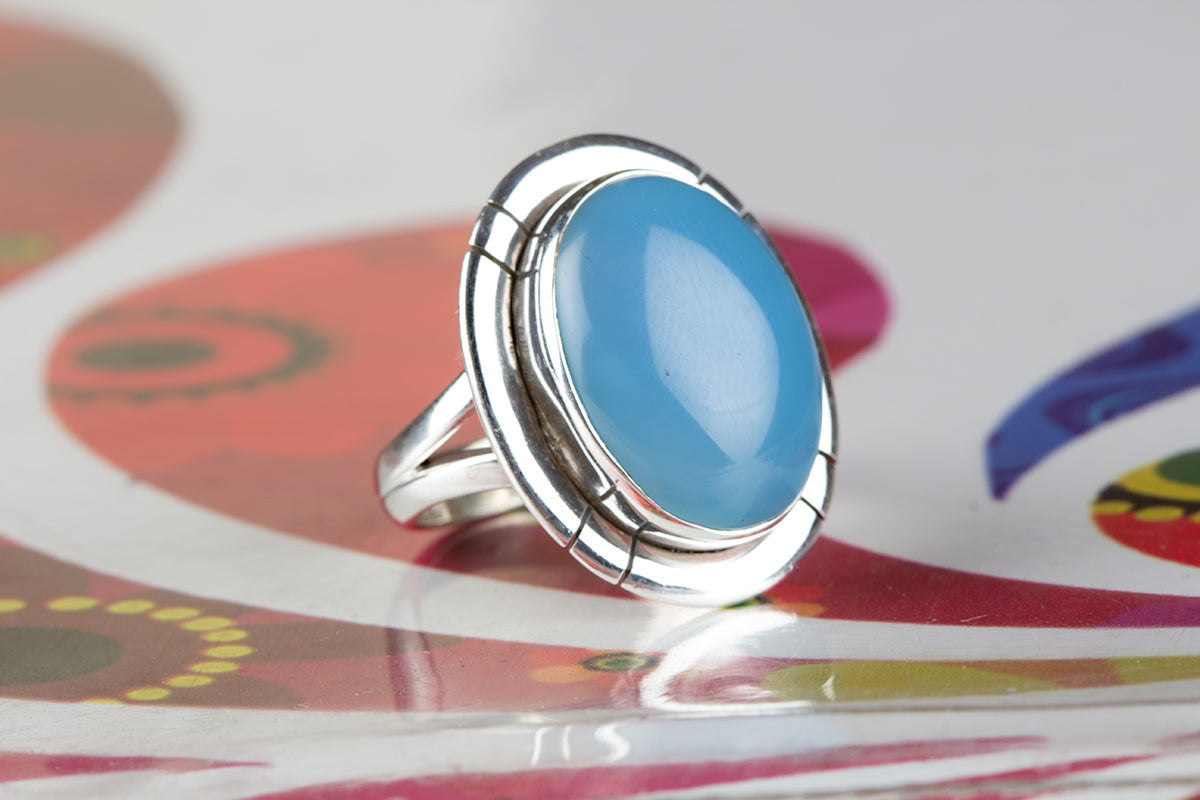 Amazing Handmade Aqua Blue Chalcedony Ring in Blue Colour