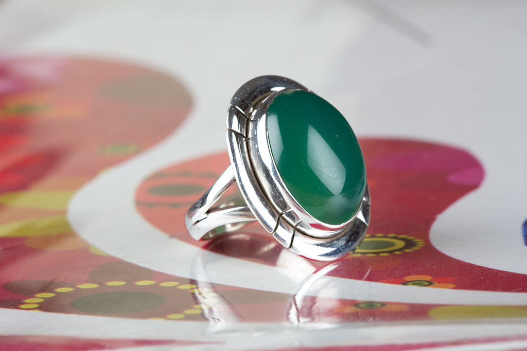 New Handmade Green Onyx Stone Ring in Sterling Silver