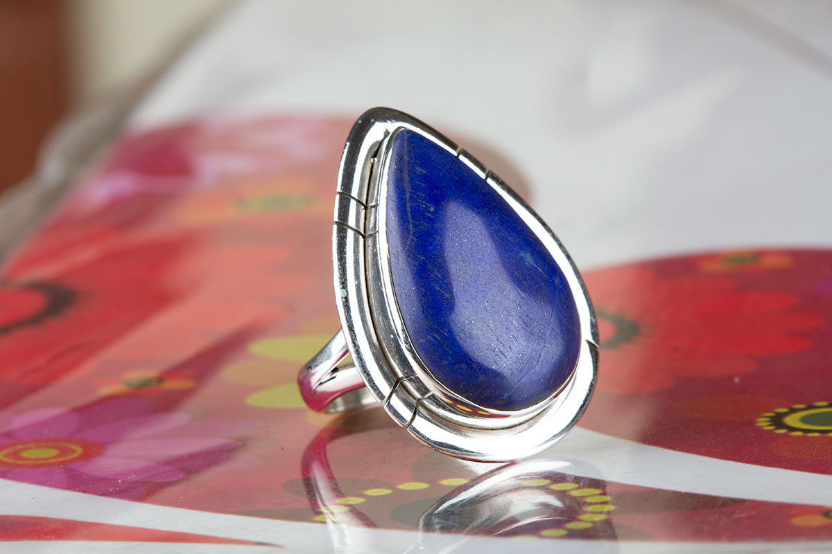 Awesome 925 Sterling Silver Lapis Lazuli Gemstone Ring