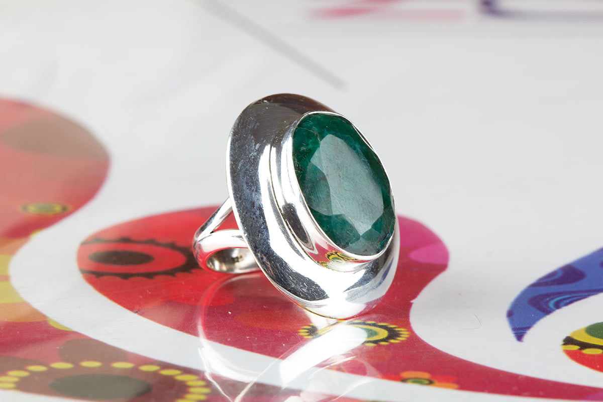 Chraming 925 Sterling Silver Emerald Gemstone Ring