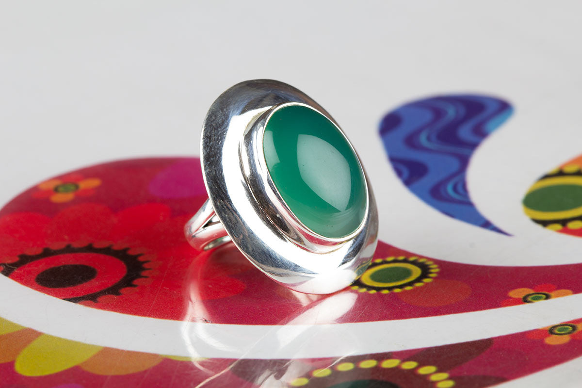 Beautiful Handmade Green Onyx Ring in Sterling Silver