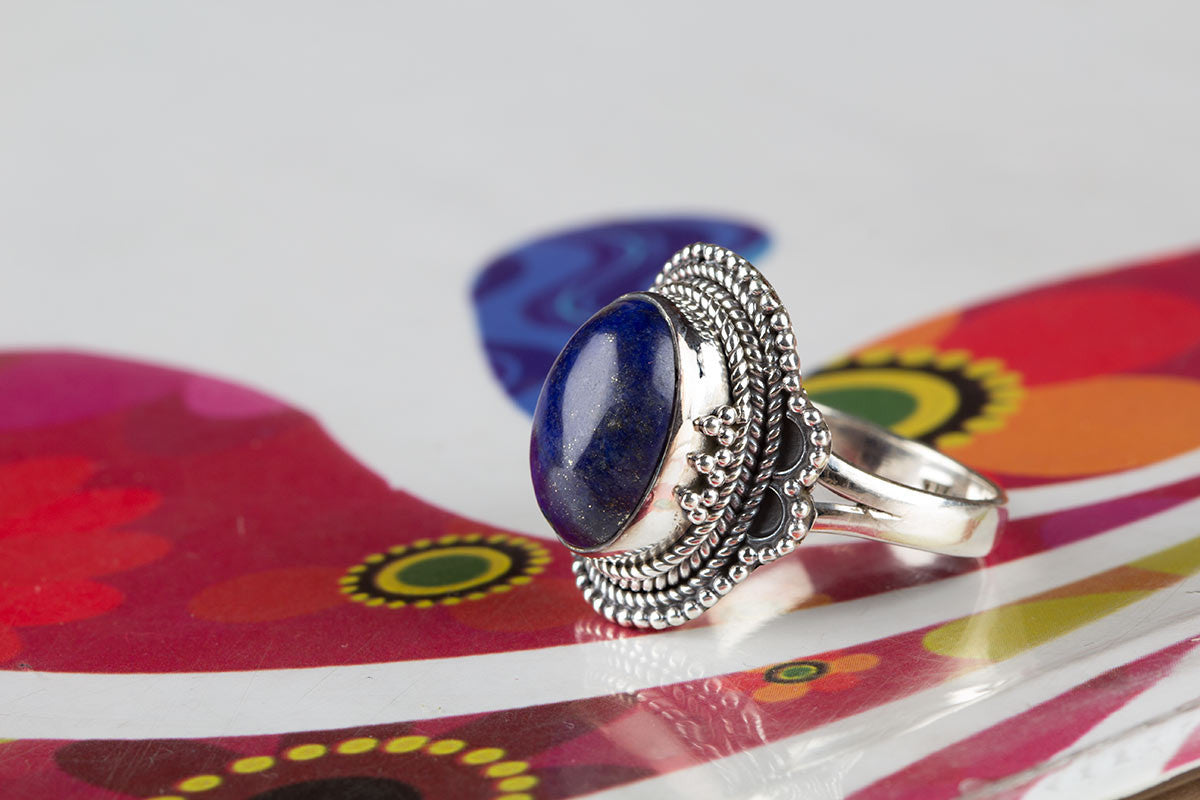 Natural Lapis Lazuli Ring In Sterling Silver At Wholesale Price