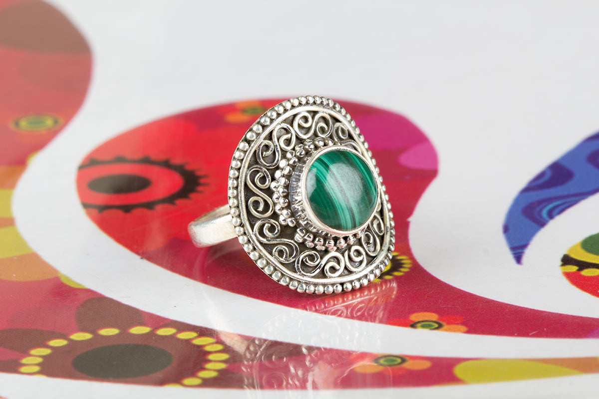 New Artisan Handmade Green Malachite Stone Ring