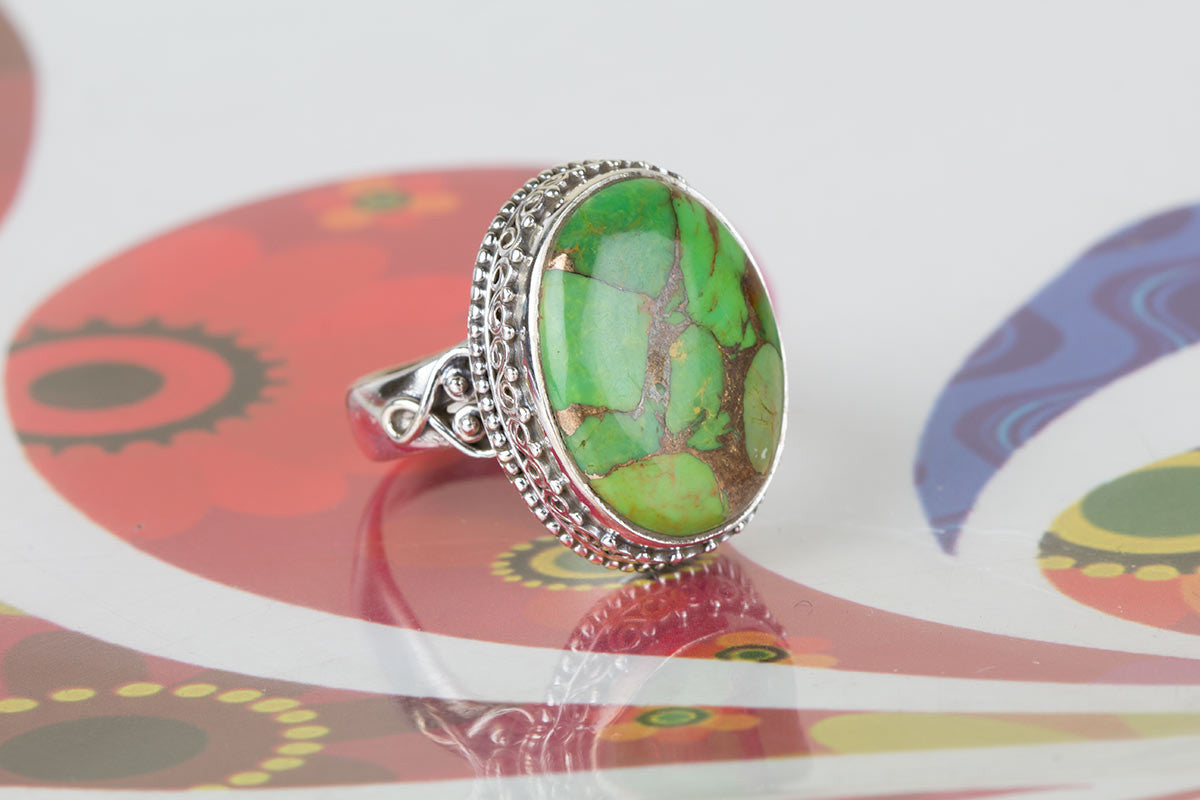 Amazing 925 Sterling Silver Green Turquoise Gemstone Ring